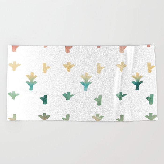 Colorful Boho tree pattern Beach Towel