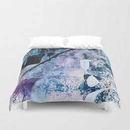 Breathe [4]: colorful abstract in black, blue, purple, gold and white Duvet Cover