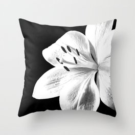 White Lily Black Background Throw Pillow