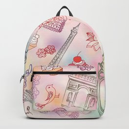 Famous Paris symbols pattern Backpack