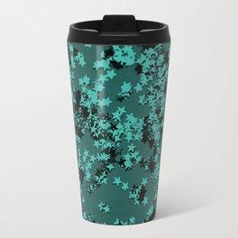 Turquoise Glitter Stars #1 #shiny #decor #art #society6 Travel Mug
