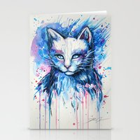 "space cat Stationery Cards featuring ""Space cat"" by PeeGeeArts"
