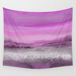 Pink and Purple Abstract Seascape Wall Tapestry