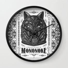 Mononoke Hime Wolf Pride Letterpress Line Work Wall Clock