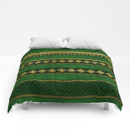 Celtic Knot Decorative Gold and Green pattern Comforters