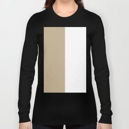 White and Khaki Brown Vertical Halves Long Sleeve T-shirt