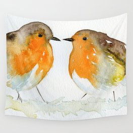 Robins in Love Wall Tapestry