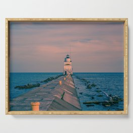 Breakwater Lighthouse Manitowoc Wisconsin Lake Michigan Light Station Serving Tray