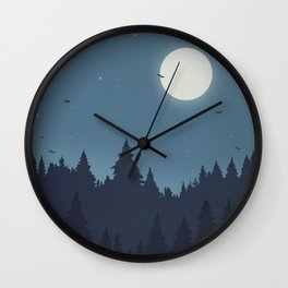 Tree Line - Blue Wall Clock