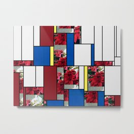 Mixed color Poinsettias 3 Art Rectangles 4 Metal Print