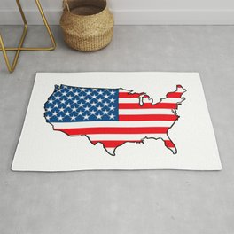 United States Map with American Flag Rug