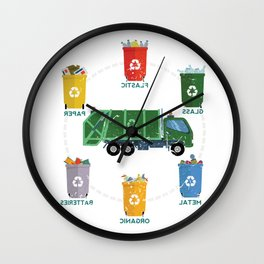 Garbage Truck Recycle Reuse Save Mother Earth Day Wall Clock