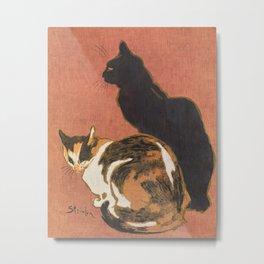 Vintage Two Cats Painting Steinlen Metal Print