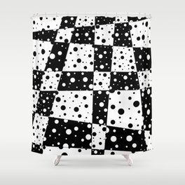 Holes In Black And White Shower Curtain