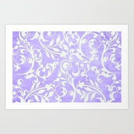 Shabby Chic purple damask Art Print
