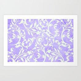 Shabby Chic purple damask Art Print