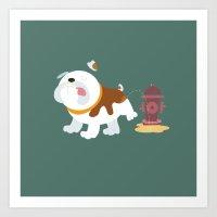 english bulldog Art Prints featuring English bulldog by Fabio Rex