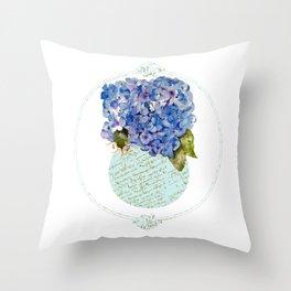 Cape Cod Hydrangeas in French script vase Throw Pillow