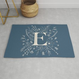 Botanical Letter E (Lake Blue) Rug