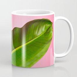 Banana Palm Leaves Pink Background Coffee Mug