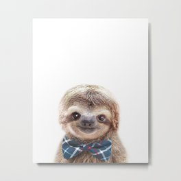 Baby Sloth With Bow Tie, Baby Animals Art Print By Synplus Metal Print