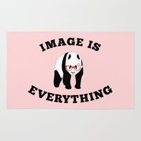 stickers Area & Throw Rugs featuring Panda Hipster by mailboxdisco