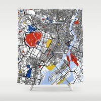mondrian Shower Curtains featuring Tokyo Mondrian by Mondrian Maps
