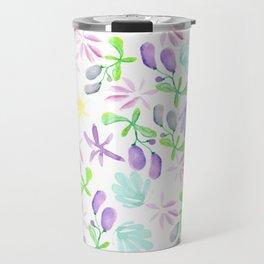 Watercolor teal green lilac purple berries floral Travel Mug