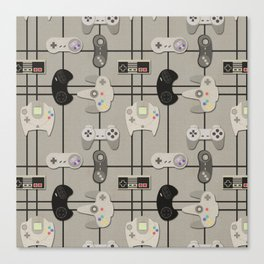 Paper Cut-Out Video Game Controllers Canvas Print