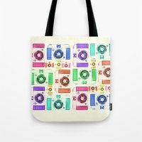 camera Tote Bags featuring CAMERA by Laura Maria Designs