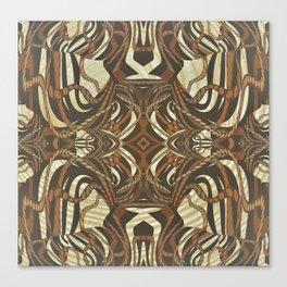 Neo-Tribal Woodwork Mandala Print Canvas Print