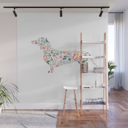 Dachshund Floral Watercolor Art Wall Mural