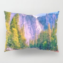 Mountain landscape with forest and river Pillow Sham