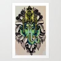 ganesha Art Prints featuring Ganesha  by Nila Frederiksen