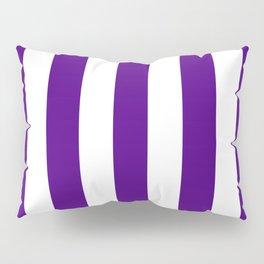 Indigo violet - solid color - white vertical lines pattern Pillow Sham