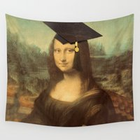 mona lisa Wall Tapestries featuring Mona Lisa Graduate by Gravityx9