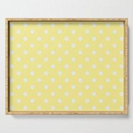 Pastel Polka Dot Yellow & White Pattern Serving Tray