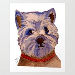 West highland terrier Westie dog love Art Print