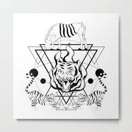 TIGER HORSE TRIANGLE TRIPPY ART Metal Print