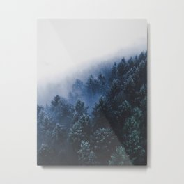 Foggy Blue Purple Mountain hill Pine Trees Landscape Nature Photography Minimalist Modern Art Metal Print