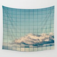 grid Wall Tapestries featuring Grid Cloud by Shiroshi