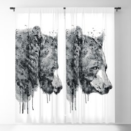 Bear Head Black and White Blackout Curtain