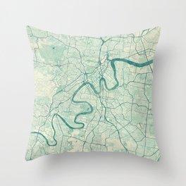 Brisbane Map Blue Vintage Throw Pillow