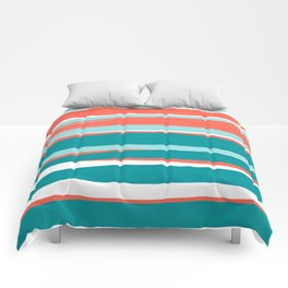 Colorful Stripes, Coral, Teal and Aqua Comforters
