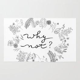 Why Not Handwriting Flower Plant Wreath Rug