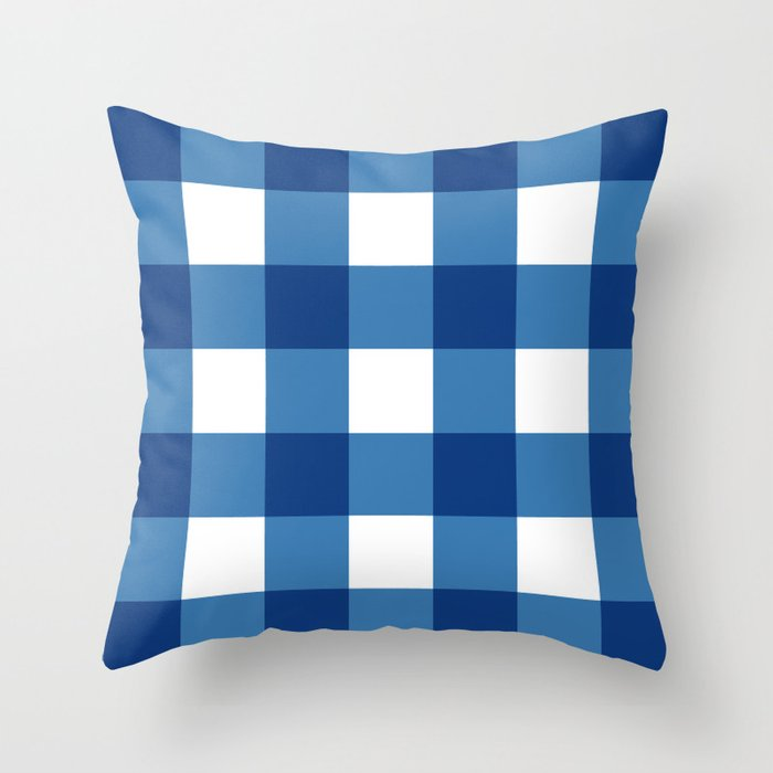Square - checked, blue pixels Throw Pillow