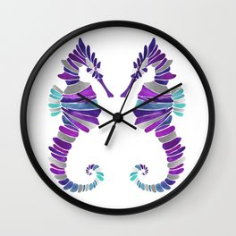 Seahorse – Purple & Silver Wall Clock