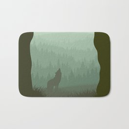 Wolf layer with moon Bath Mat