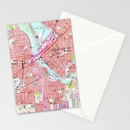 Vintage Map of Cedar Rapids Iowa (1967) Stationery Cards
