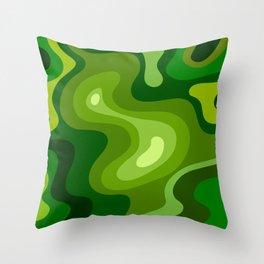 Multi Color Green Liquid Abstract Design Throw Pillow